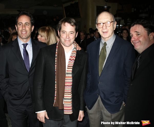 Jerry Seinfeld, Matthew Broderick, Neil Simon & Nathan Lane attending  the Opening Night after party for the New David Mamet Play NOVEMBER at Restaurant Bond 45 in New York City. January 17, 2008