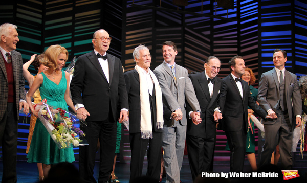 "Dick Latessa, Kristin Chenoweth, Neil Simon, Burt Bacharach, Sean Hayes, Hal David, Rob Ashford, Tony Goldwyn taking a bow on the  Opening Night Broadway performance Curtain Call for ""PROMISES, PROMISES"" at the Broadway Theatre, New York City. April 25, 2"