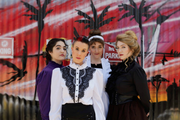 Murder & Mayhem as 1892 meets modern day.  L to R: Jenni Marie Lopez (Alice Russell), Photo