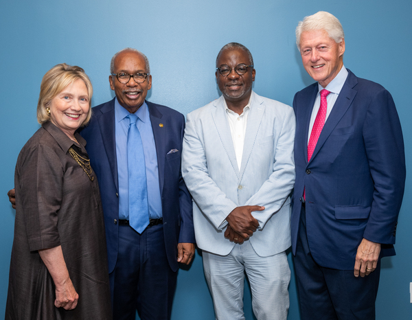 Secretary of State Hillary Rodham Clinton, Ernest Green (one of the Little Rock Nine), Harvey Butler (Producer), President William Clinton