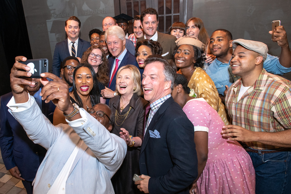 Harvey Butler takes a selfie with President William Clinton,  Secretary of State Hillary Rodham Clinton and cast