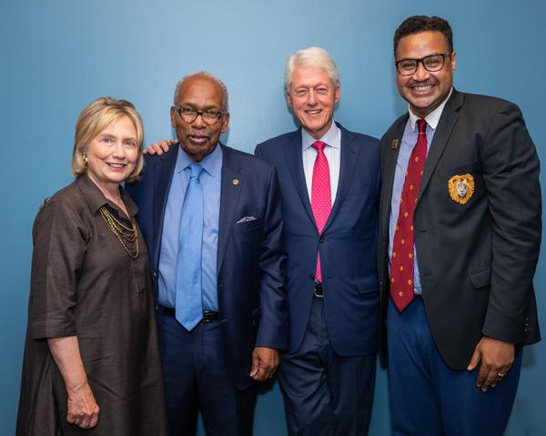 Secretary of State Hillary Rodham Clinton, Ernest Green, President William Clinton, Rajendra Ramoon Maharaj (Playwright/Director)
