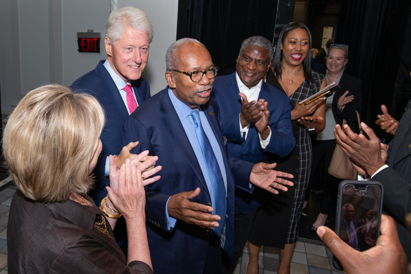 President William Clinton, Ernest Green joined by Rodney E. Slater (Secretary of Transportation Clinton Administration) and cast