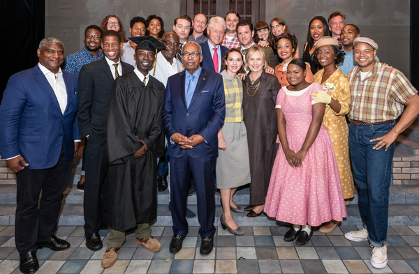 """The cast and company of """"Little Rock� with President William Clinton and Secretary of State Hillary Rodham Clinton"""