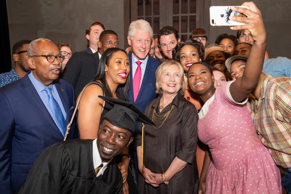 Cast member Shanice Williams takes a selfie with President William Clinton, Secretary of State Hillary Clinton and cast