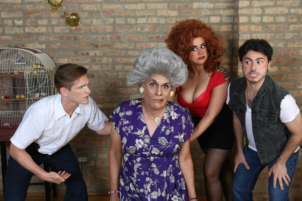 Officer Frankie Spinelli (Chazie Bly), Roxanne Nurdiger (Sydney Genco) and Zachary Slade (David Lipschutz) surround (front, center) a speechless Mother Nurdiger (David Cerda) in a publicity image for Hell in a Handbag Productions' comedy THE ARTIFICIAL