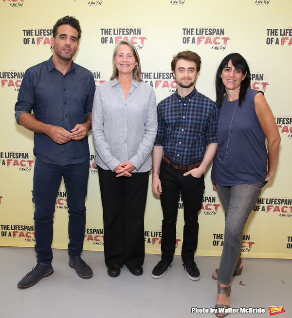 Bobby Cannavale, Cherry Jones, Daniel Radcliffe and director Leigh Silverman