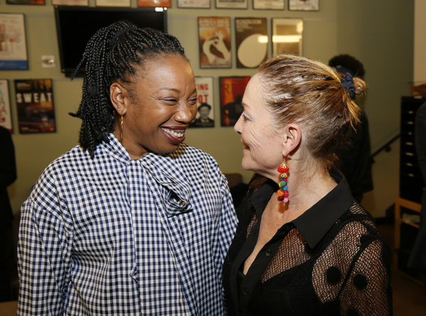 """From left, cast members Portia and Mary Mara backstage after the opening night performance of """"Sweat"""" at Center Theatre Group/Mark Taper Forum on September 5, 2018, in Los Angeles, California. (Photo by Ryan Miller/Capture Imaging)"""