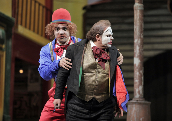 "Amitai Pati as Beppe and Marco Berti as Canio in Leoncavallo's ""Pagliacci.""  Photo"