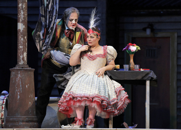 "Marco Berti as Canio and Lianna Haroutounian as Nedda in Leoncavallo's ""Pagliacci.""  Photo"