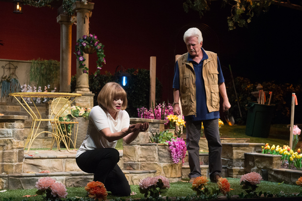 Frances Fisher as Virginia and Bruce Davison as Frank in Native Gardens at Pasadena Playhouse. // Photo by Jenny Graham