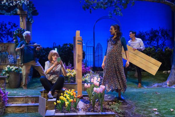 (L-R): Bruce Davison, Frances Fisher, Jessica Meraz, and Christian Barillas in Native Gardens at Pasadena Playhouse. // Photo by Jenny Graham