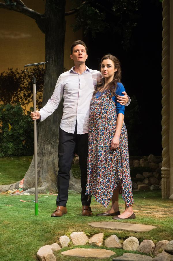 Christian Barillas as Pablo and Jessica Meraz as Tania in Native Gardens at Pasadena Playhouse. // Photo by Jenny Graham