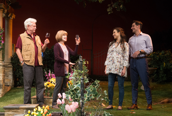 (L-R) Christian Barillas, Jessica Meraz, Frances Fisher and Bruce Davison in Native Gardens at Pasadena Playhouse. // Photo by Jenny Graham