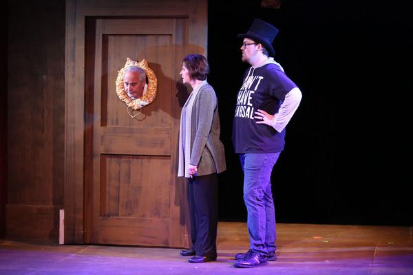 Cast (L-R):  Paul Panico, Cindy Pearl, and J. Bailey Burcham