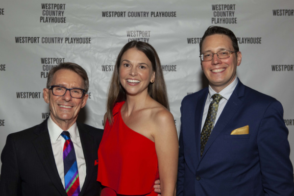 Mark Lamos, Westport Country Playhouse artistic director; Sutton Foster, and Michael Barker, Playhouse managing director