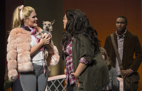 (from left) Casey Shuler plays Elle Woods, Teressa LaGamba is Enid Hoopes and Gerald Caesar plays Emmett Forrest in Legally Blonde, running September 5-October 21, 2018 at Paramount Theatre, 23 E. Galena Blvd. in Aurora. Trent Stork directs. Also pictured