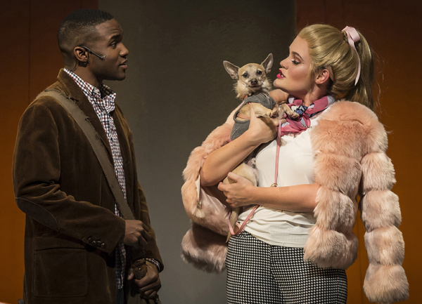Gerald Caesar is Emmett Forrest and Casey Shuler plays Elle Woods in Legally Blonde, September 5- October 21, 2018 at Paramount Theatre, 23 E. Galena Blvd. in Aurora. Frankie, a rescue dog, plays Elle's trusty sidekick Bruiser. Trent Stork directs. Tick