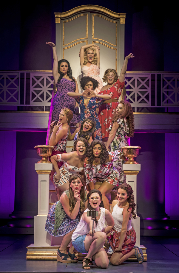 Casey Shuler (top) as Elle Woods, with, (row 2, below, from left) Lucy Godinez as Serena, Kyrie Courter as Pilar and Sara Reinecke as Margot, and their Delta Nu sisters played by (row 3, from left) Lara Hayhurst, Jenna Coker-Jones, Mallory Maedke, (row 4)