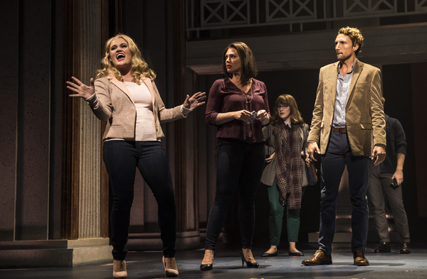 (from left) Casey Shuler plays Elle Woods, Jacquelyne Jones is Vivienne Kensington and Tyler Lain plays Warner Huntington III in Legally Blonde, running September 5-October 21, 2018 at Paramount Theatre, 23 E. Galena Blvd. in Aurora. Trent Stork directs.