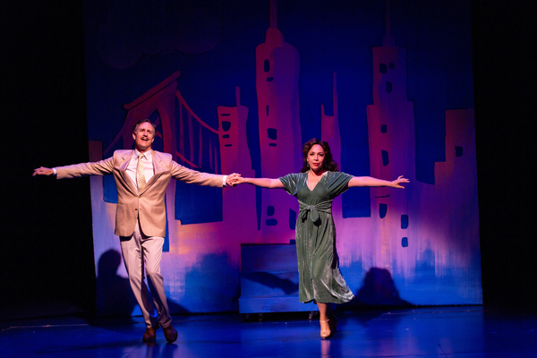 Howard McGillin as Nathan Hines Kline and Andréa Burns as Mary Ethel Bernadette, the musical comedy stars who perform in the show-within-a-show in Pamela's First Musical at Two River Theater