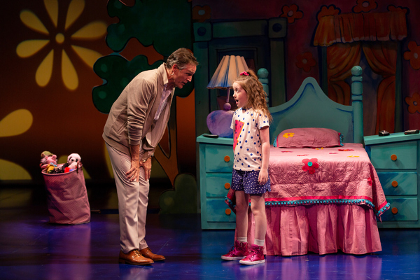 Howard McGillin as Pamela's father, Kevin, and Sarah McKinley Austin in the title role of Pamela's First Musical at Two River Theater