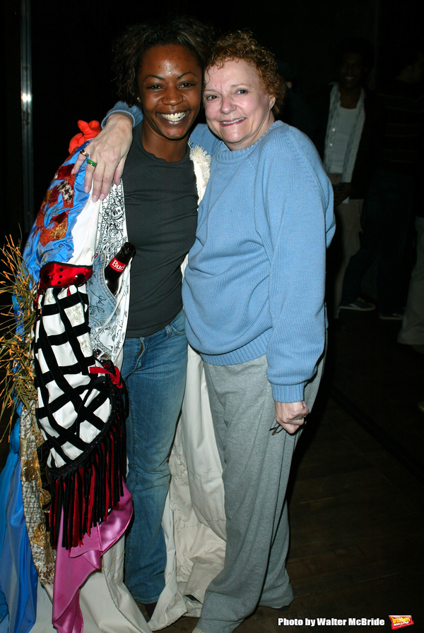 Carole Shelley and Kisha Howard (Gypsy Robe Winner) Attending the Opening Night Gypsy Robe Ceremony  for the New Broadway Musical, WICKED ( The Untold Story of the Witches Of Oz ), at the Gershwin Theatre in New York City. October 30, 2003