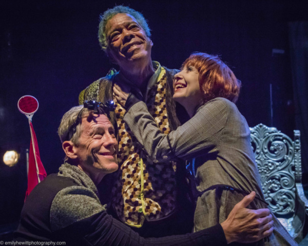 Steve Hauck as Frank, Charles Turner as the Dragon Griswynd, and Jenne Vath as Marcia enjoy a group hug. Theater for the New City and Artistic Director Crystal Fields' Dream Up Festival. Seats still a
