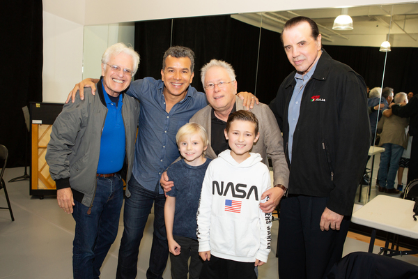 Jerry  Zaks (Director), Sergio Trujillo  (Choreography), Alan  Menken (Music)  and  Chazz  Paminteri  (Book)  with  Shane  Pry  (Young  Calogero  Alternate)  and  Frankie  Leoni  (Young  Calogero)