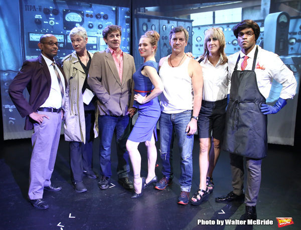 "Royston Scott, Colleen O'Neill, Greg Zuccolo, Heather Litteer, David Ilku, Nora Burns, Justin Law from the Cast of ""Tony Stinkmetal's SlashR""on September 14, 2018 at the Gene Frankel Theatre in New York City."