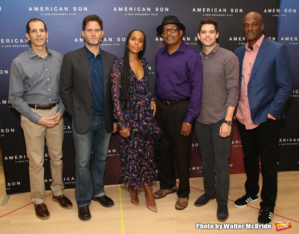 "The American Son team: playwright Christopher Demos-Brown, cast members Steven Pasquale, Kerry Washington, Eugene Lee, Jeremy Jordan, and director Kenny Leon. attend the Cast photo call for the New Broadway Play ""American Son"" on September 14, 2018 at the"