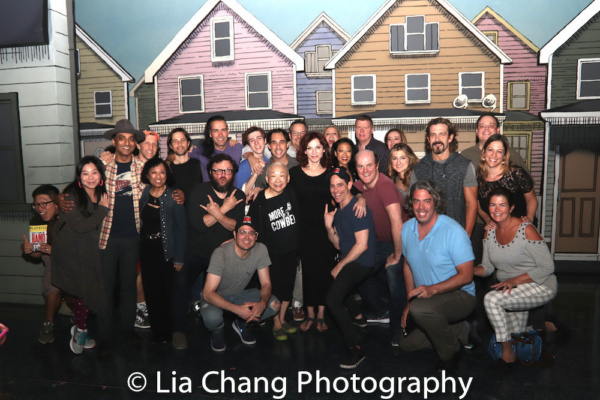Lori Tan Chinn, Baayork Lee, Raymond J. Lee, Daniel May, Yuka Takara visit with the cast of GETTIN' THE BAND BACK TOGETHER
