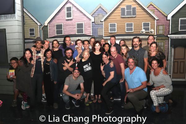 Lori Tan Chinn, Baayork Lee, Raymond J. Lee, Daniel May, Yuka Takara visit with the cast of GETTIN' THE BAND BACK TOGETHER