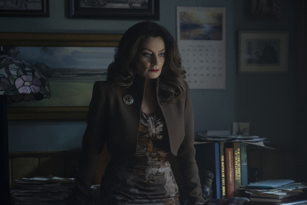 MARY WARDWELL / MADAM SATAN (Michelle Gomez) is Sabrina's favorite teacher and mentor at Baxter High. When she is possessed by the Devil's handmaiden, MADAM SATAN, Ms. Wardwell turns into a sultry, cunning manipulator, always trying to lure Sabrina do