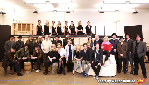 Producer Julian Schlossberg, Director Susan Stroman, Vincent Pastore, Marin Mazzie, Nick Cordero, producer Letty Aronson, Betsy Wolfe, Zach Braff, Karen Ziemba, Brooks Ashmanskas, Lenny Wolpe and Helene Yorke with the ensemble cast performing during the s