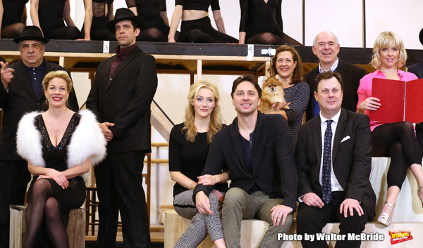 Vincent Pastore, Marin Mazzie, Nick Cordero, Betsy Wolfe, Zach Braff, Karen Ziemba, Brooks Ashmanskas, Lenny Wolpe and Helene Yorke performing during the sneak peek rehearsal performance of 'Bullets Over Broadway'  on February 13, 2014 at the New 42nd Str