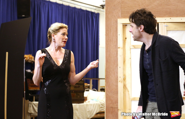 Marin Mazzie and Zach Braff performing during the sneak peek rehearsal performance of 'Bullets Over Broadway'  on February 13, 2014 at the New 42nd Street Studios in New York City.
