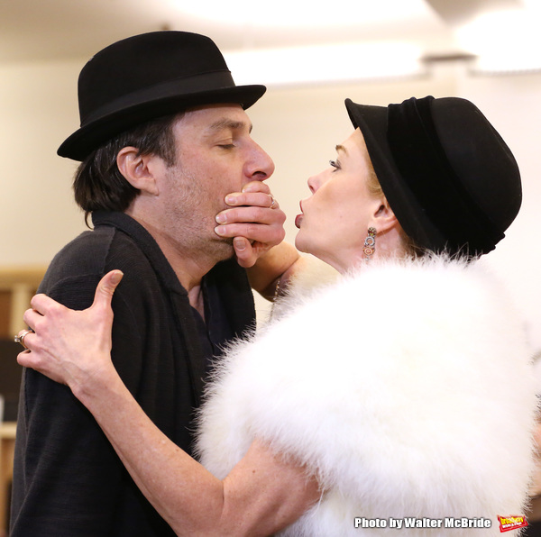 Zach Braff and Marin Mazzie performing during the sneak peek rehearsal performance of 'Bullets Over Broadway'  on February 13, 2014 at the New 42nd Street Studios in New York City.