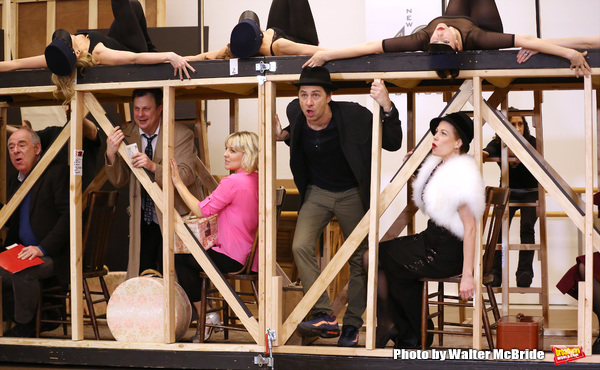 Lenny Wolpe, Brooks Ashmanskas, Helene Yorke, Zach Braff, Marin Mazzie  and cast performing during the sneak peek rehearsal performance of 'Bullets Over Broadway'  on February 13, 2014 at the New 42nd Street Studios in New York City.