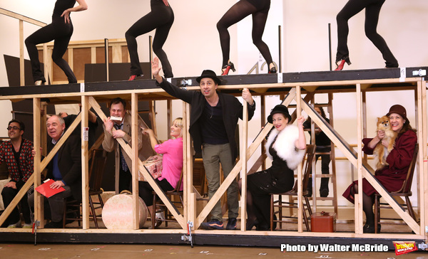 Lenny Wolpe, Brooks Ashmanskas, Helene Yorke, Zach Braff, Marin Mazzie , Karen Ziemba and cast performing during the sneak peek rehearsal performance of 'Bullets Over Broadway'  on February 13, 2014 at the New 42nd Street Studios in New York City.