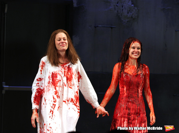 Marin Mazzie & Molly Ranson.during the Opening Night Curtain Call for the MCC Theater's Production of 'CARRIE' at The Lucille Lortel Theatre on March 1, 2012 in New York City.