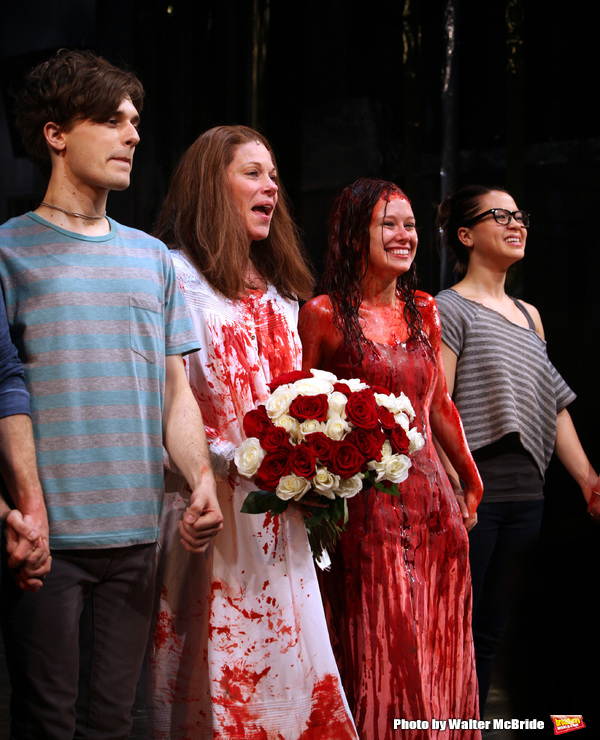 Andy Mientus, Marin Mazzie, Molly Ranson & Jen Sese.during the Opening Night Curtain Call for the MCC Theater's Production of 'CARRIE' at The Lucille Lortel Theatre on March 1, 2012 in New York City.