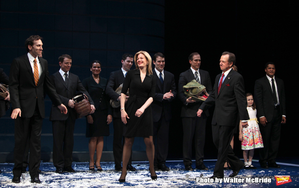 Marin Mazzie, Ian Jahn, Anthony Holds, Brandon J. Dirden, Gregory Itzin taking a bow during the Opening Night Broadway Performance Curtain Call for ENRON at the Broadhurst Theatre , New York City. April 27, 2010