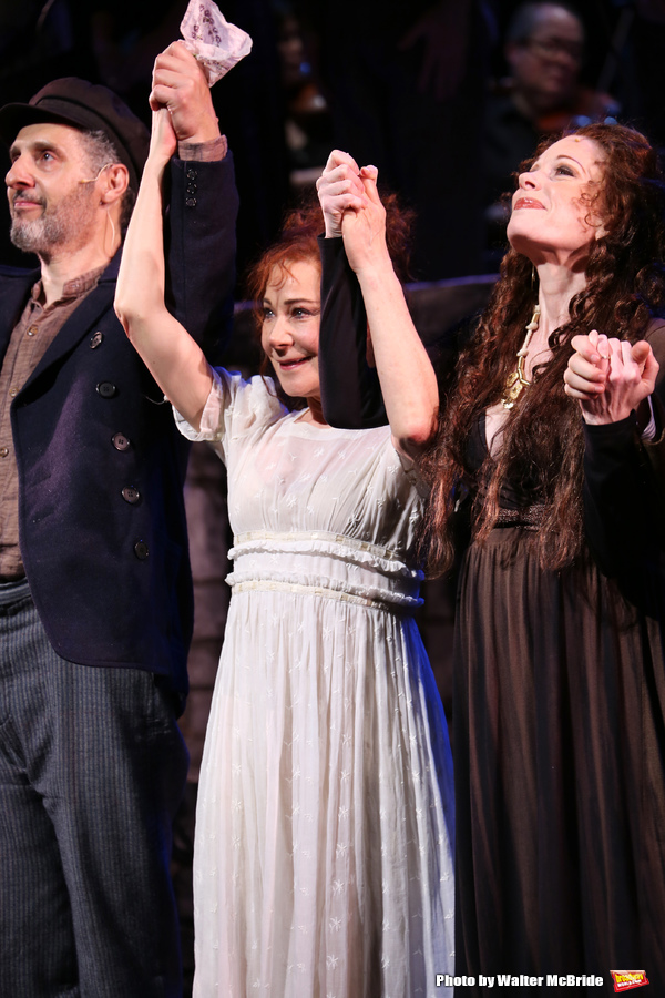 John Turturro, Zoe Wanamaker and Marin Mazzie during the closing night performance curtain call of the  New York City Center Encores! presents 'Zorba!' at City Center on May 10, 2015 in New York City.