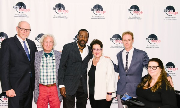 Executive Director Edgar Dobie, Director John Gould Rubin, Edwin Lee Gibson (Dick Gregory), Artistic Director Molly Smith, John Carlin (Stand-up Comic/Emcee/Interviewer/Heckler/Cabbie) and Playwright Gretchen Law