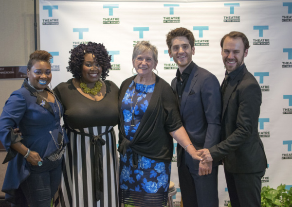 TATC Board Member Pat Binkley (center) along with actors Donica Lynn, Qiana McNary, Garrett Lutz and Tony Carter at the Opening Night of Ghost The Musical at Theatre at the Center in Munster.