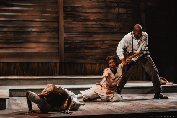 Felicia Boswell as Celie, Danea C. Osseni as Nettie and Chaz Lamar Shepherd as Mister