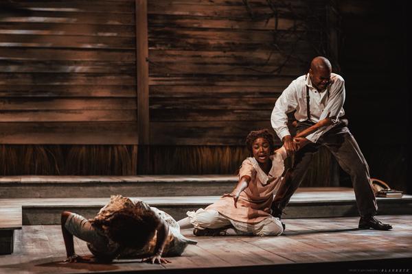 Felicia Boswell as Celie, Danea C. Osseni as Nettie and Chaz Lamar Shepherd as Mister Photo