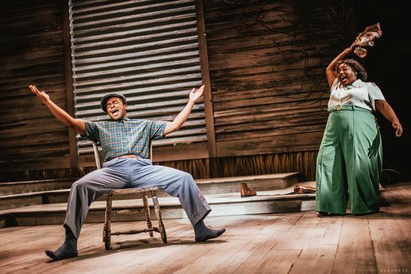 Isaiah Tyrelle Boyd as Harpo and Maiesha McQueen as Sofia