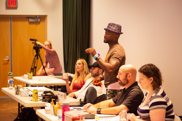 Taye  Diggs  and  the  creative  team  in  rehearsal  for  Thoughts  of  a  Colored  Man
